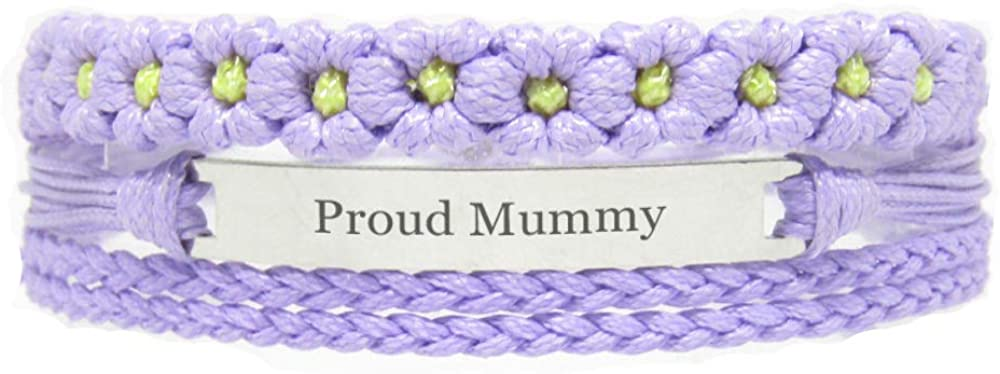 Miiras Family Engraved Handmade Bracelet - Proud Mummy - Purple FL - Made of Braided Rope and Stainless Steel - Gift for Mummy