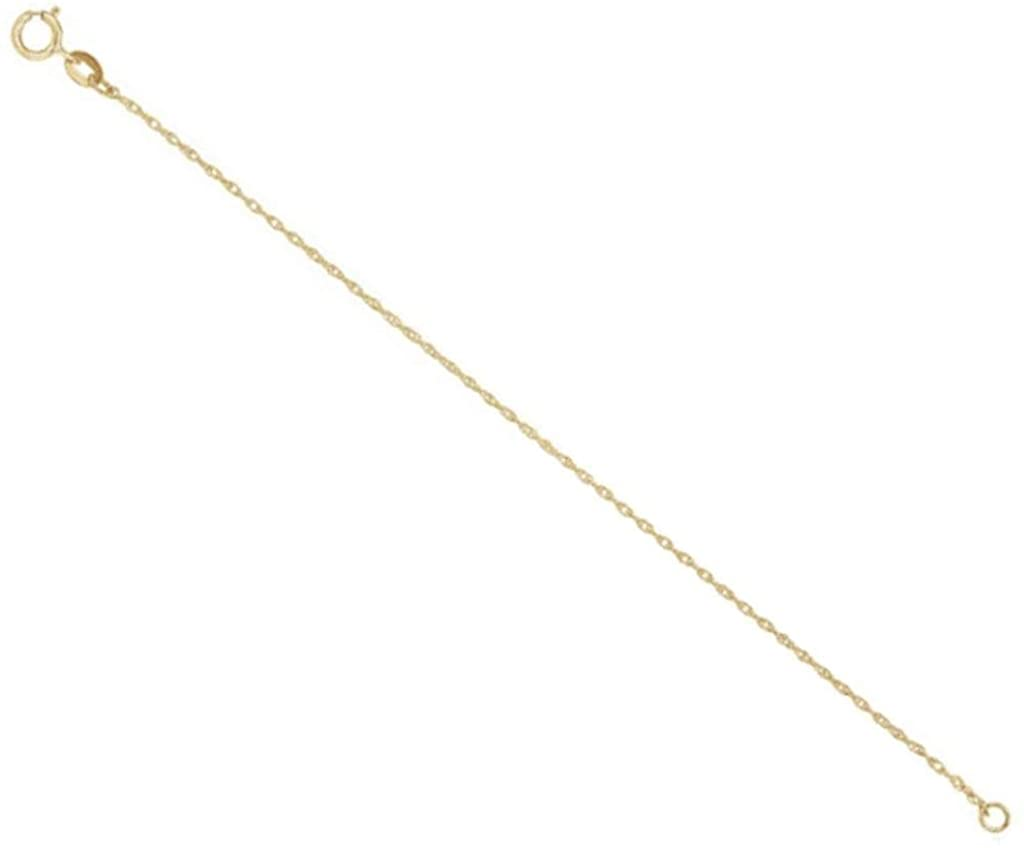 18k Yellow Gold Solid Rope Chain Necklace 1MM Extender Safety Chain with Spring Ring Clasp