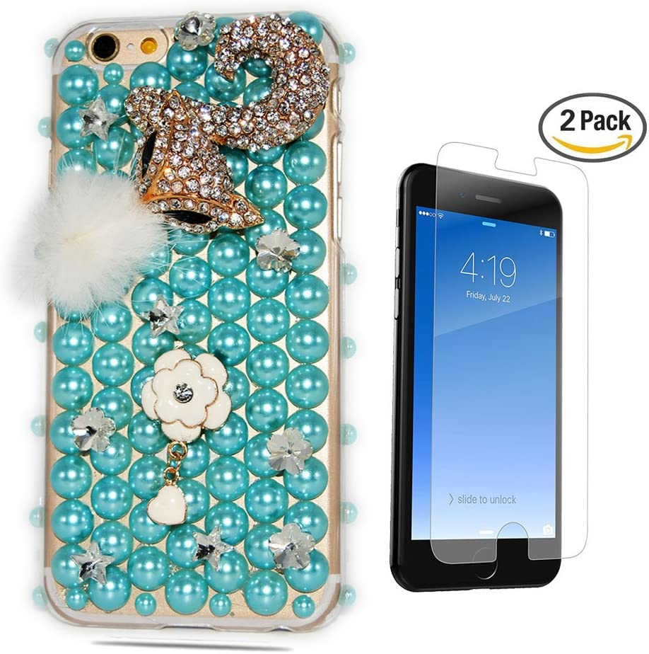 STENES iPhone 7 Plus Case - [Luxurious Series] 3D Handmade Crystal Sparkle Bling Case With Screen Protector & Retro Bowknot Anti Dust Plug - Pearl Fox Flowers/Blue