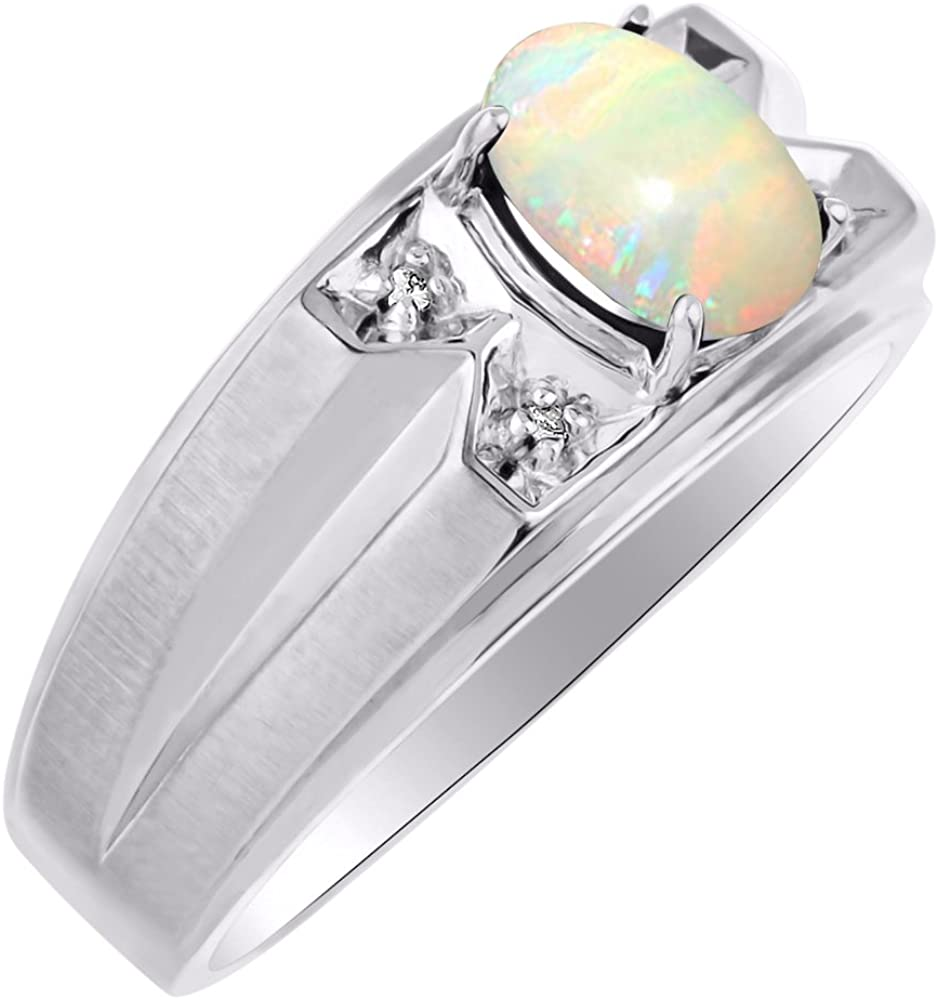 Diamond & Opal Ring Sterling Silver or Yellow Gold Plated