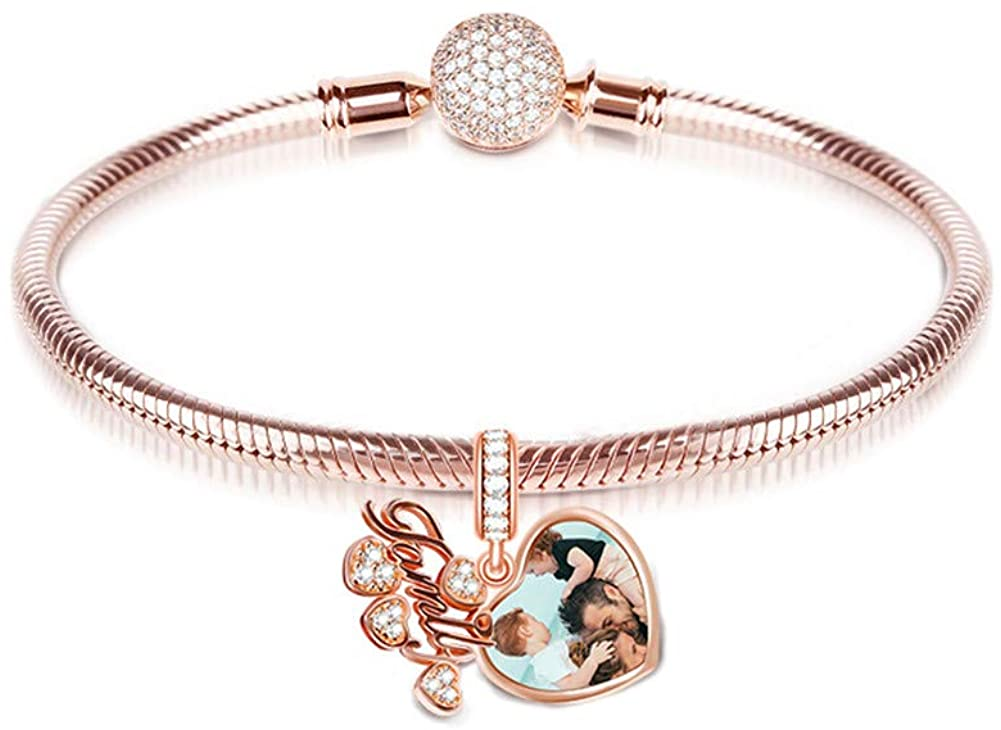 GNOCE Rose Gold Pleated Charm Bracelet Sterling Silver with Custom Photo Charm Pendant Family is Life Snake Chain with Round Clasp