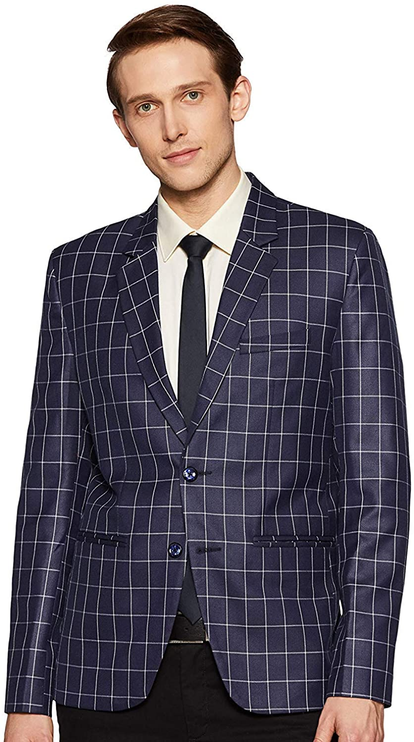 LUXRIO Men's Casual Suit Blazer Jackets Lightweight Sports Coats Tailored Fit Check Blazer for Men Stylish Party Wear