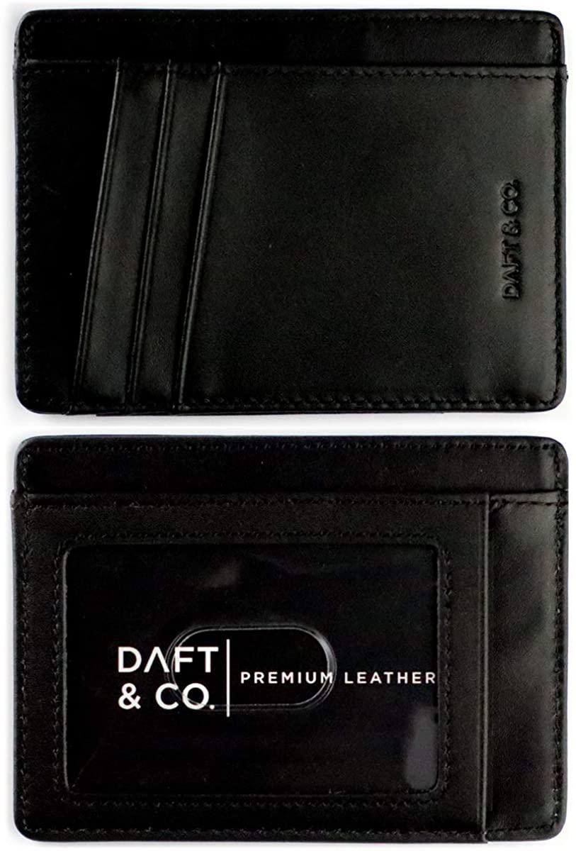 Daft & Co. Premium Genuine Leather RFID Blocking Minimalist, Modern Front Pocket, Travel Wallet & Gift Box (Black Napa)