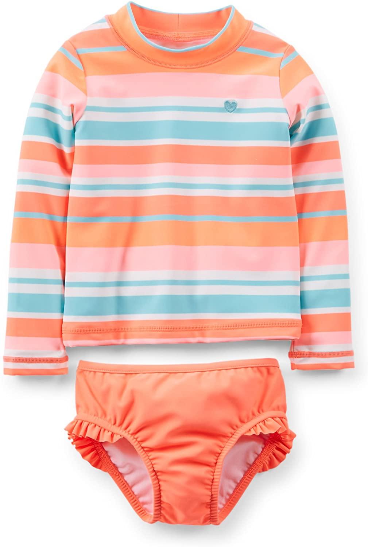 Carters Little Girls 2 Piece Striped Swim Rashguard Set (4K, Orange)