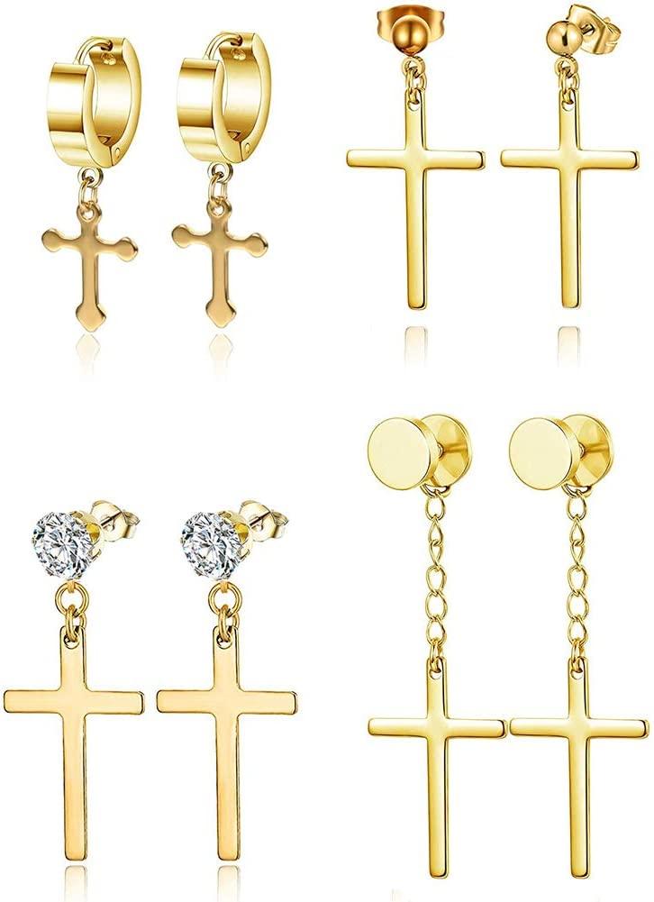 ADAIER Men's Womens Vintage Stainless Steel Silver Cross Dangle Hinged Hoop Earrings, Stainless Steel Hoop Huggie Earrings Cross Drop Dangle Earrings (SE-20) (A:4 styles gold)
