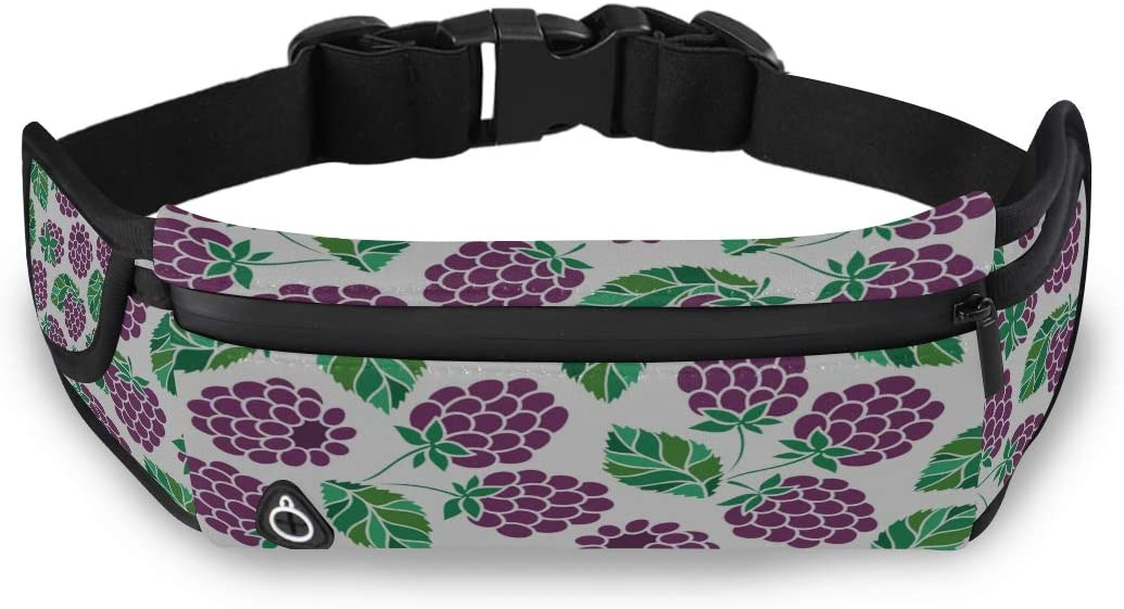 Blackberries Fresh Fruit Fanny Pack For Girls Fashion Travel Bag Exercise Waist Pack With Adjustable Strap For Workout Traveling Running