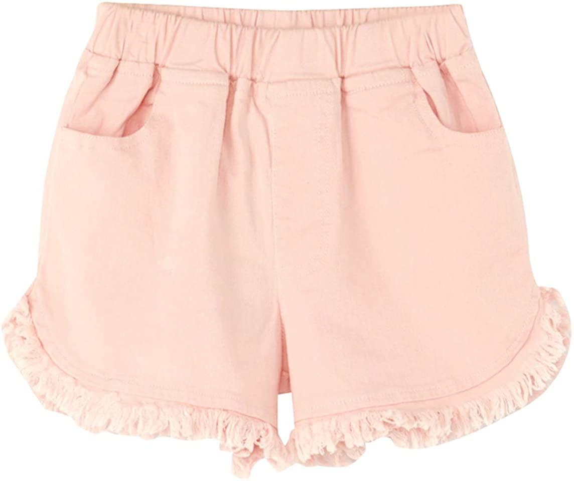 Qiribati Baby Girls Denim Shorts Denim Jean Shorts Frayed Raw Hem Shorts Stretch Jeans