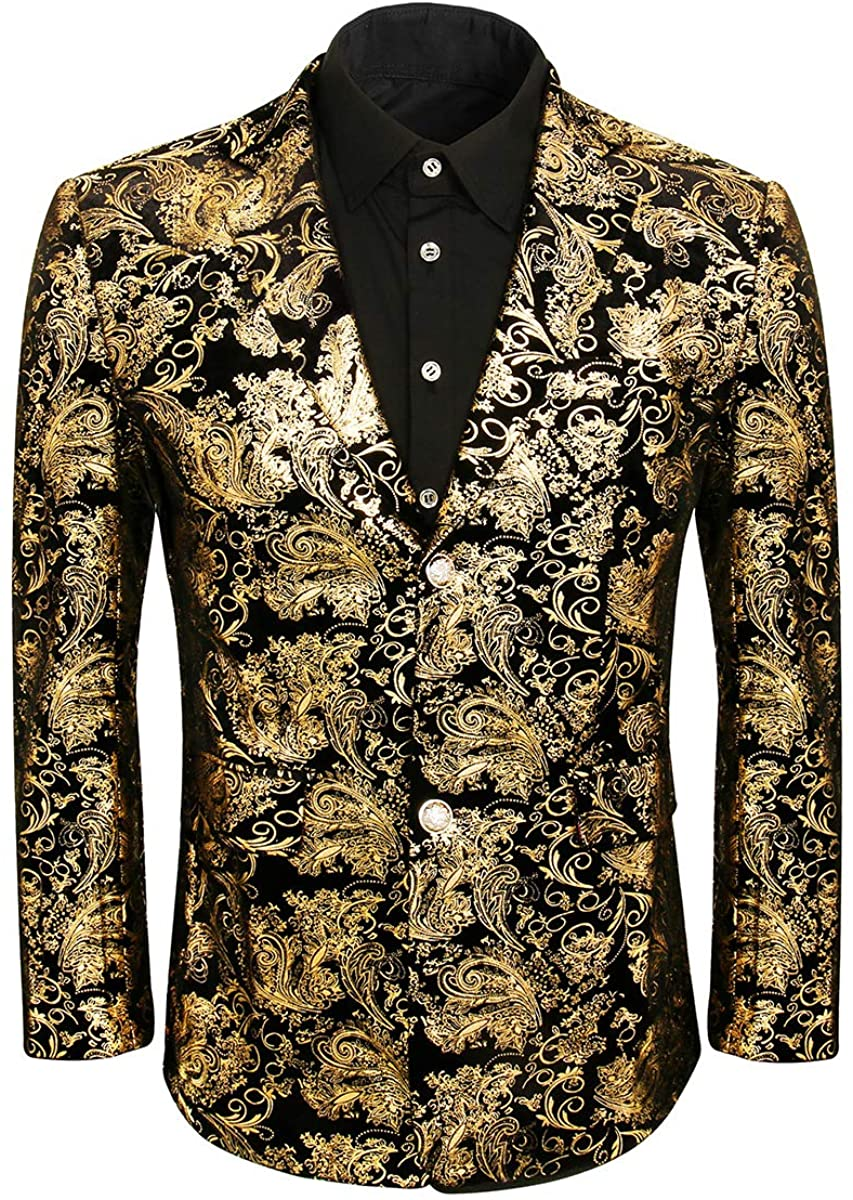 Men Golden Floral Dress Suit Jacket Blazer Slim Fit Wedding Prom Party Notched Lapel Tuxedo Uniform Outfit