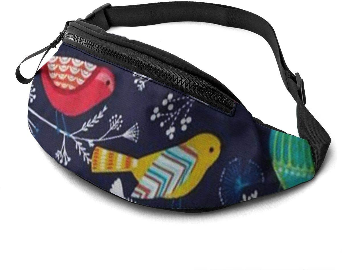 Colorful Birds Fanny Pack For Men Women Waist Pack Bag With Headphone Jack And Zipper Pockets Adjustable Straps