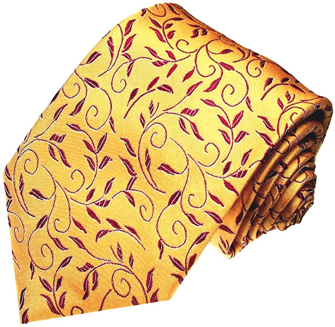 LORENZO CANA - Italian 100% Silk Tie Yellow Gold Maroon Darkred Floral Jacquard 42030