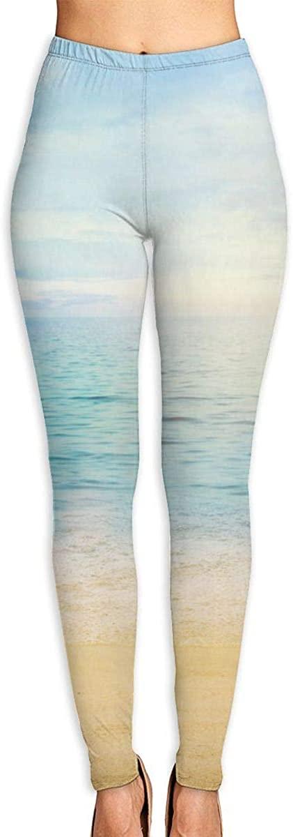 Summer Beach Blue Ocean Women's 3D Digital Print High Wait Leggings Yoga Workout Pants