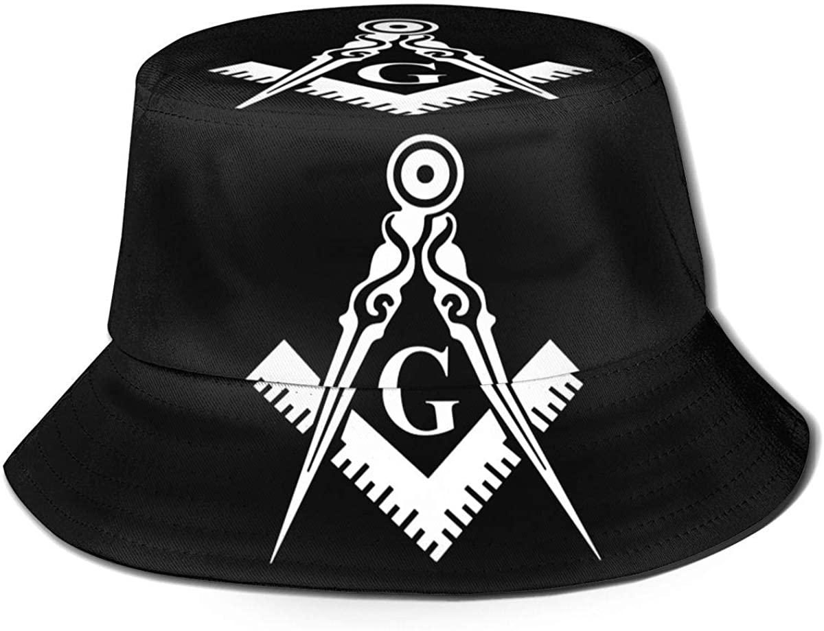 Freemason Printed Men Women Travelling Fisherman's hat Foldable Bucket Cap Wide Brim Sun Hat BlackOne Size