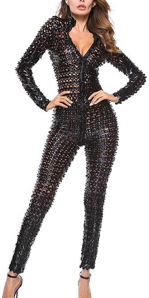 Sorrica Trendy Women's Sexy Hollow Catsuit Leather Zip up Clubwear Stripper