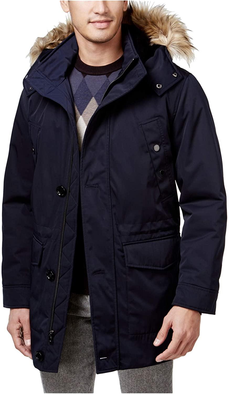 Ryan Seacrest Mens Luxe Twill Faux-Fur Parka Coat