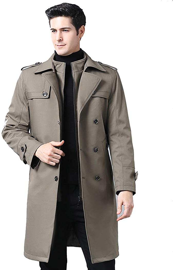 Michealboy Men's Overcoat Casual Double Breasted Waistband Long Above Knee Stand Collar