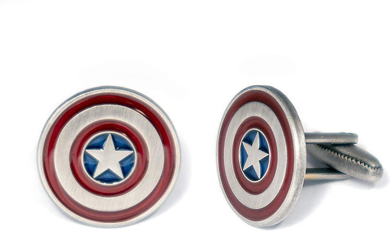 Captain America Shield Cufflinks, The Avengers Tie Clip, Iron Man Tie Tack Jewelry, Marvel Superhero Wedding Groomsmen Cuff Links Geek Gift, Geeky Present Nerd Presents