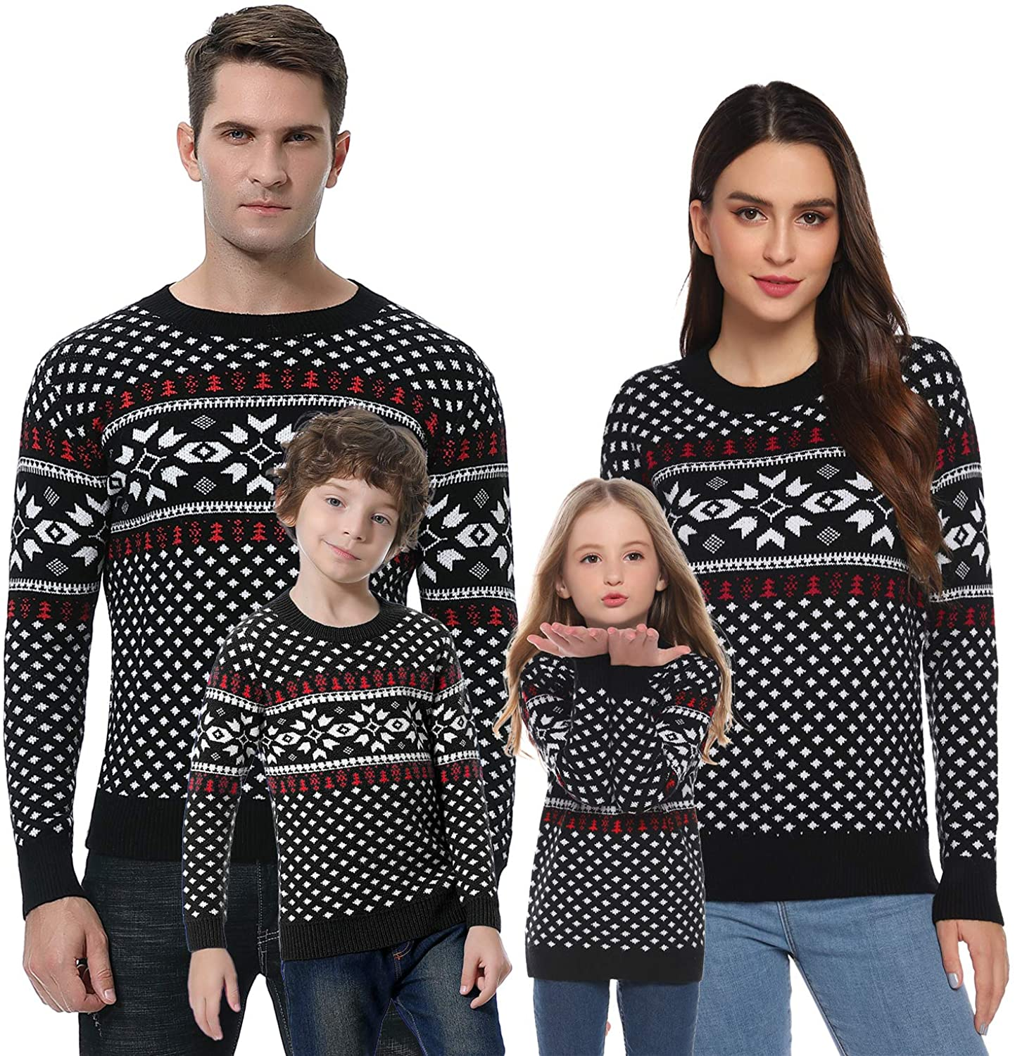 Abollria Christmas Sweater for Family Matching Ugly Christmas Funny Xmas Snowflake Sweaters Pullover(Dad/Mom/Kids) Black,Mom Medium