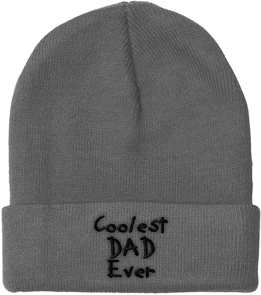 Custom Beanie for Men & Women Coolest Dad Ever Black Embroidery Skull Cap Hat