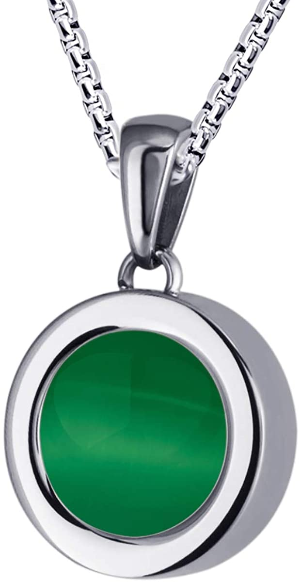 Quiges Locket with Box Chain Necklace 16.5 Made of Silver Plated Stainless Steel and Green Coloured Coins for Women