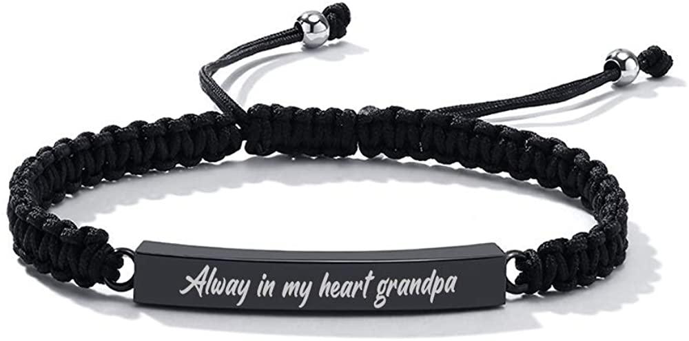 VNOX Handmade Aajustable Rope Memorial Urn Bracelet Cuff Wristband Customize Set of 2/3/4/5 Cremation Urn Bracelet for Ashes Holder
