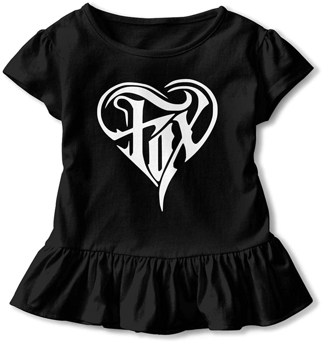 Fox Heart Girls Short Sleeve Ruffle Top Black