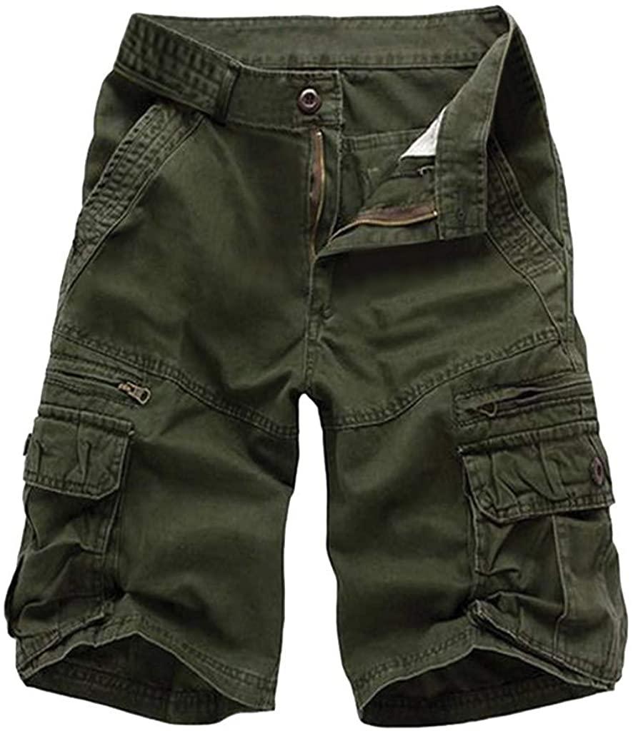 XQXCL Mens Shorts Summer Solid Color Loose Casual Zipper Multi-Pocket Tooling Pants