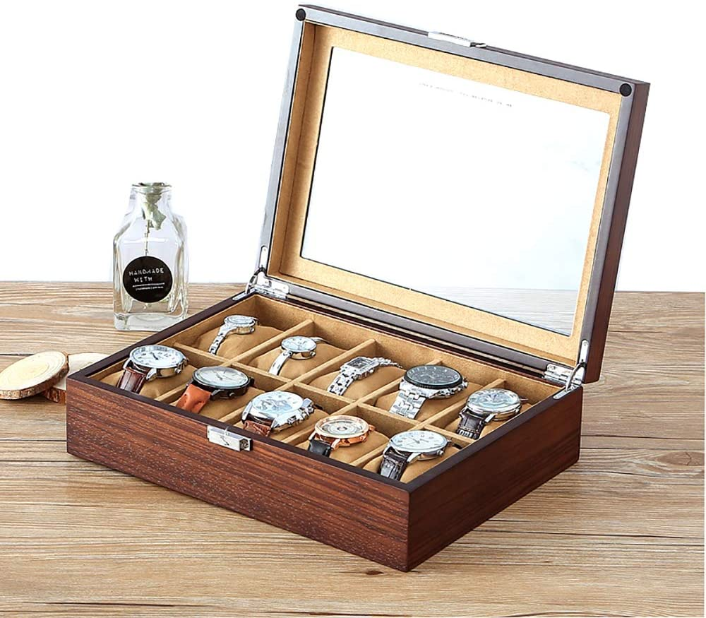 NEWTRY Watch Box Watches Collection Box Display Storage Case Watch Case Hold 12 Watches Large Holder (Transparent Cover)