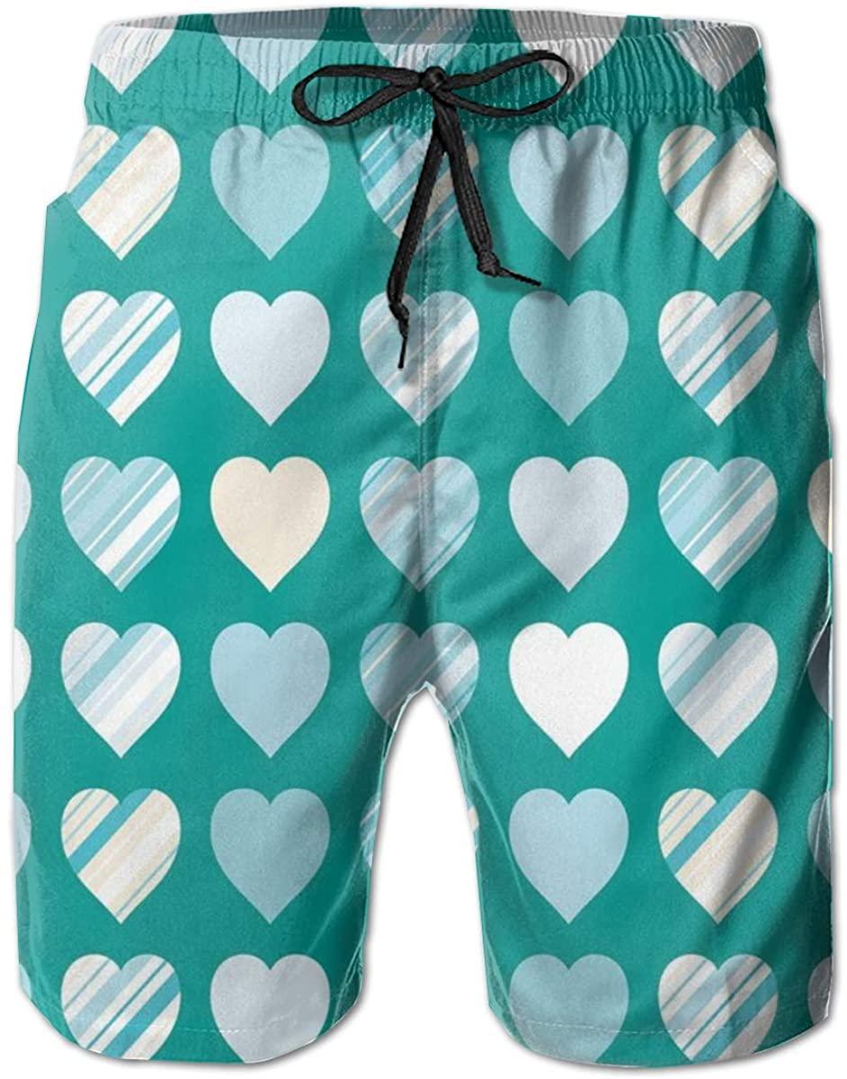 Men's Swim Trunks Quick Dry Beach Shorts Heart Figures Love Valentines Famous Symbol Universal Symbol Design L