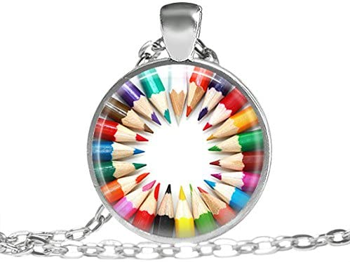 Pencil necklace, Art pencil jewelry, Gift for artist pendant, Coloring pencil necklace, Gift for painters jewelry, Artistic color pendant