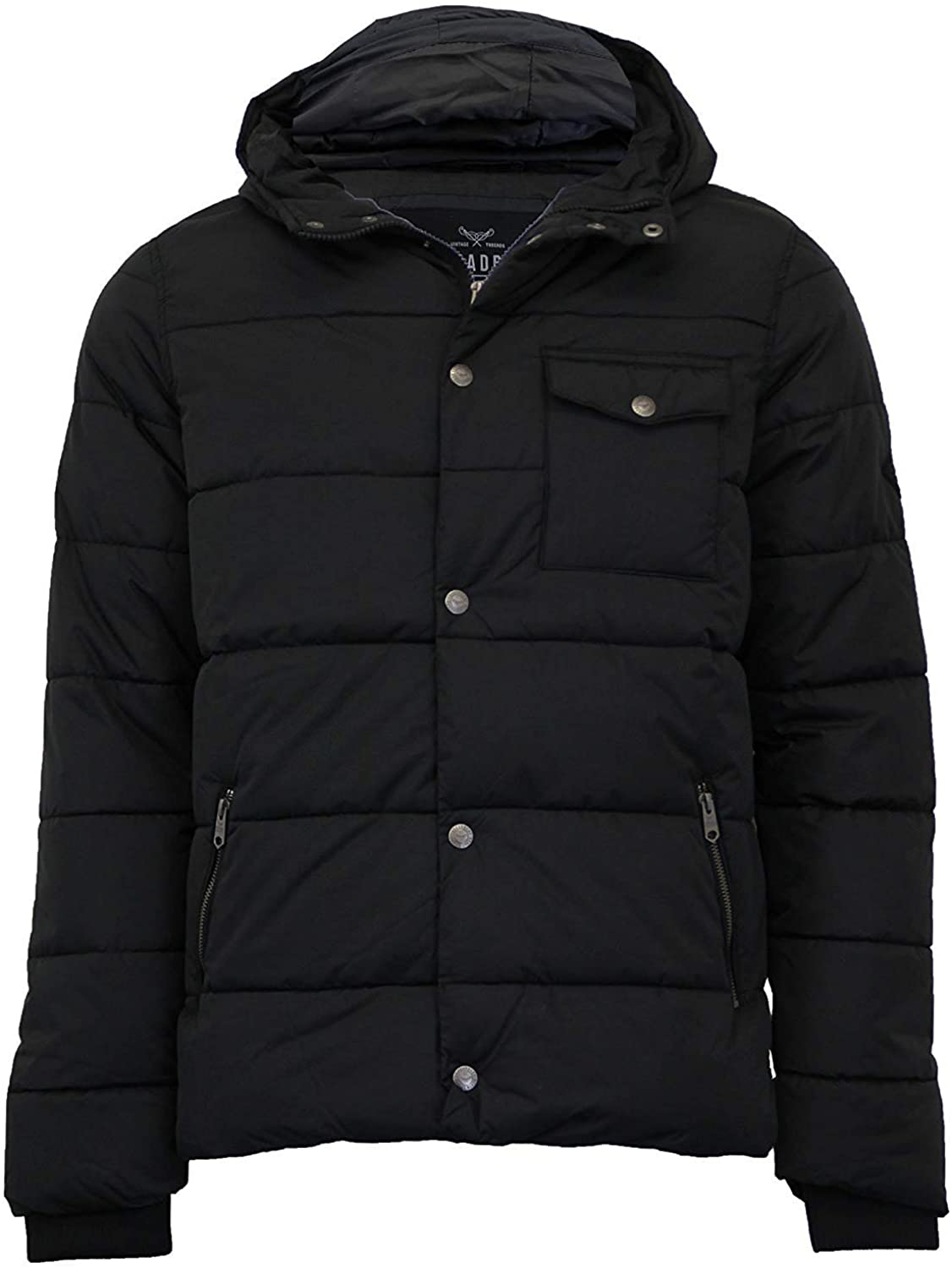 Threadbare Mens Padded Quilted Hoodie Jacket