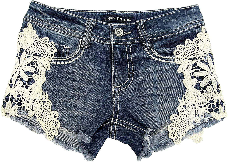Imperial Stars Big Girls (7-16) Crochet Denim Shorts Marilyn Large 14