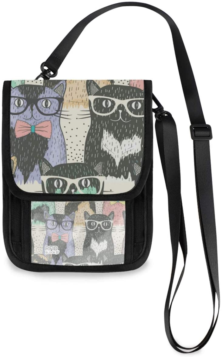 Travel Neck Wallet Neck Pouch - Cute Cats Waering Glasses Passport Holder with RFID Blocking for Man Woman Travel Document Holder
