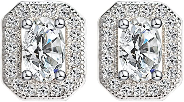 925 Silver Plated Stud Earrings Made with Swarovski Elements Crystal
