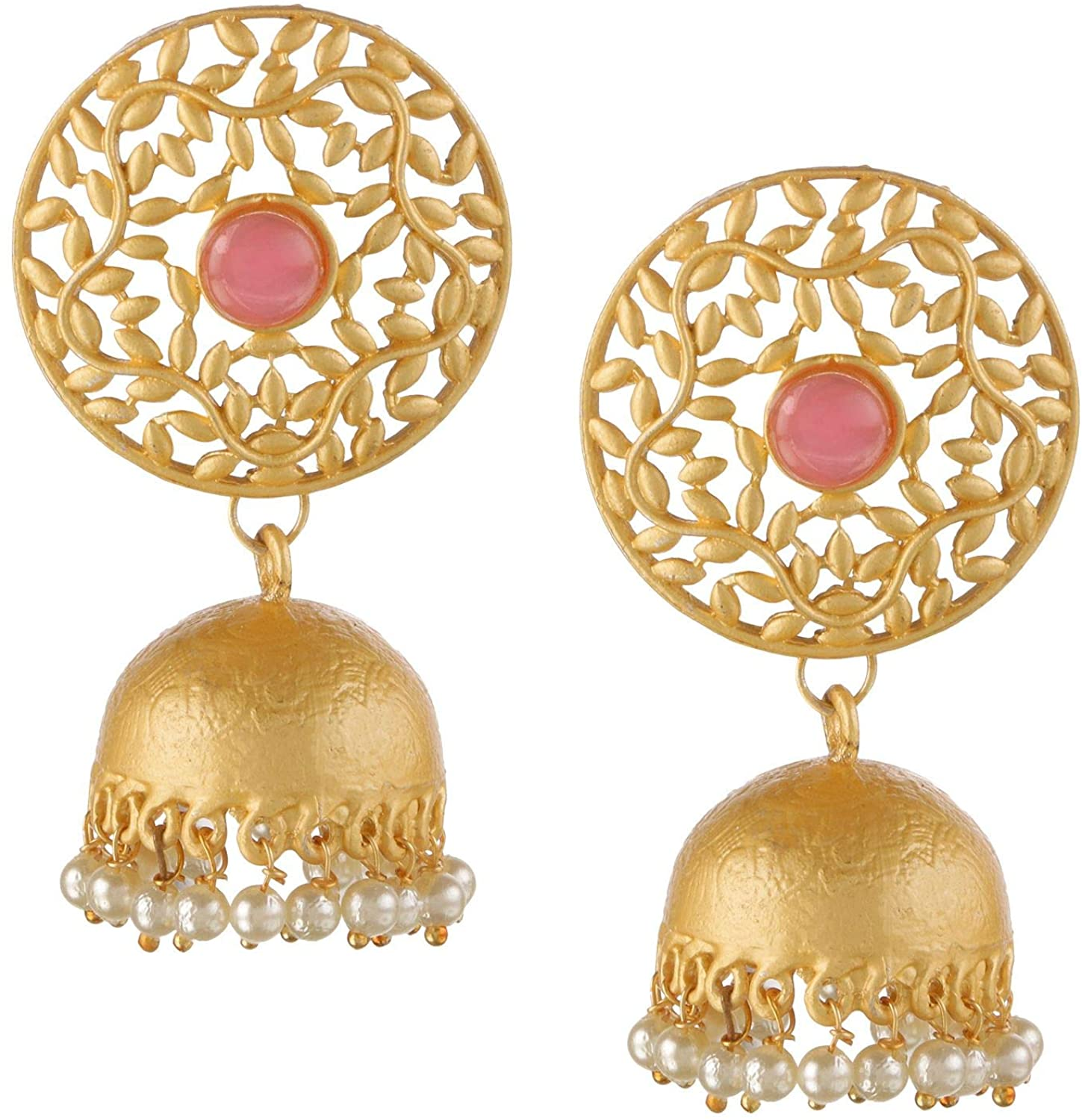Efulgenz Indian Bollywood 14K Gold Plated Pearl Round Jhumka Jhumki Jewelry Earrings Set