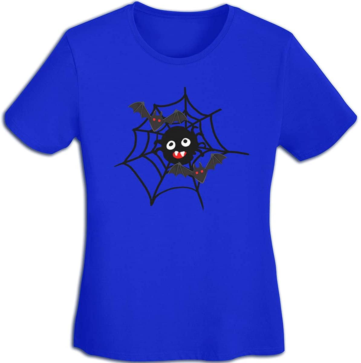 JX-EASY Women's Short Sleeve T-Shirt Crew-Neck Fantastic Tees Baseball Sports Halloween Bats Printing Quick-Dry Shorts