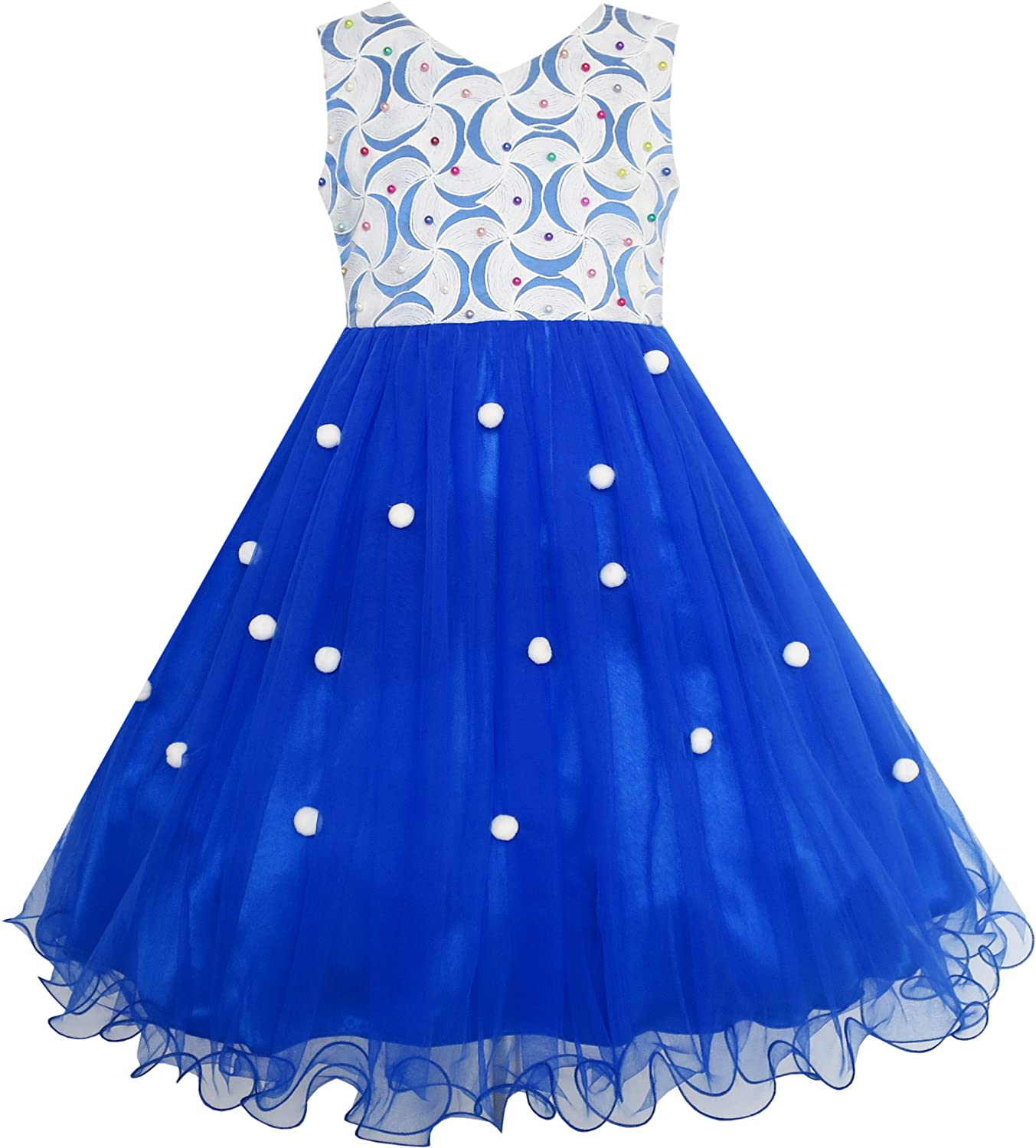 Sunny Fashion Flower Girls Dress Lace Pearl Flowers Pageant Wedding Tulle