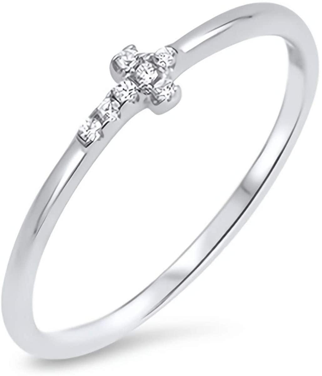 Glitzs Jewels 925 Sterling Silver CZ Ring (Clear/Sideways Cross) | Cubic Zirconia Jewelry Gift