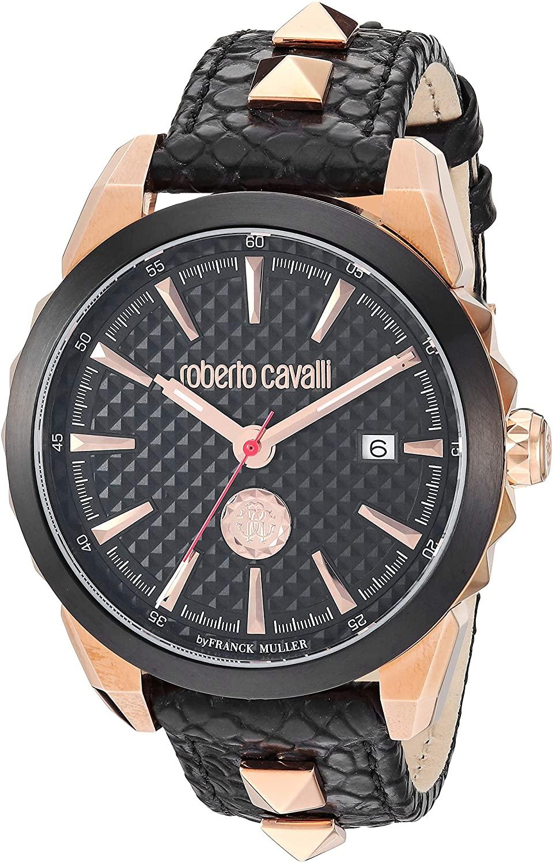 ROBERTO CAVALLI Men's COSTELLATO Rose Gold Tone Swiss Quartz Watch with Leather Calfskin Strap, Black, 17.7 (Model: RV1G034L0046)