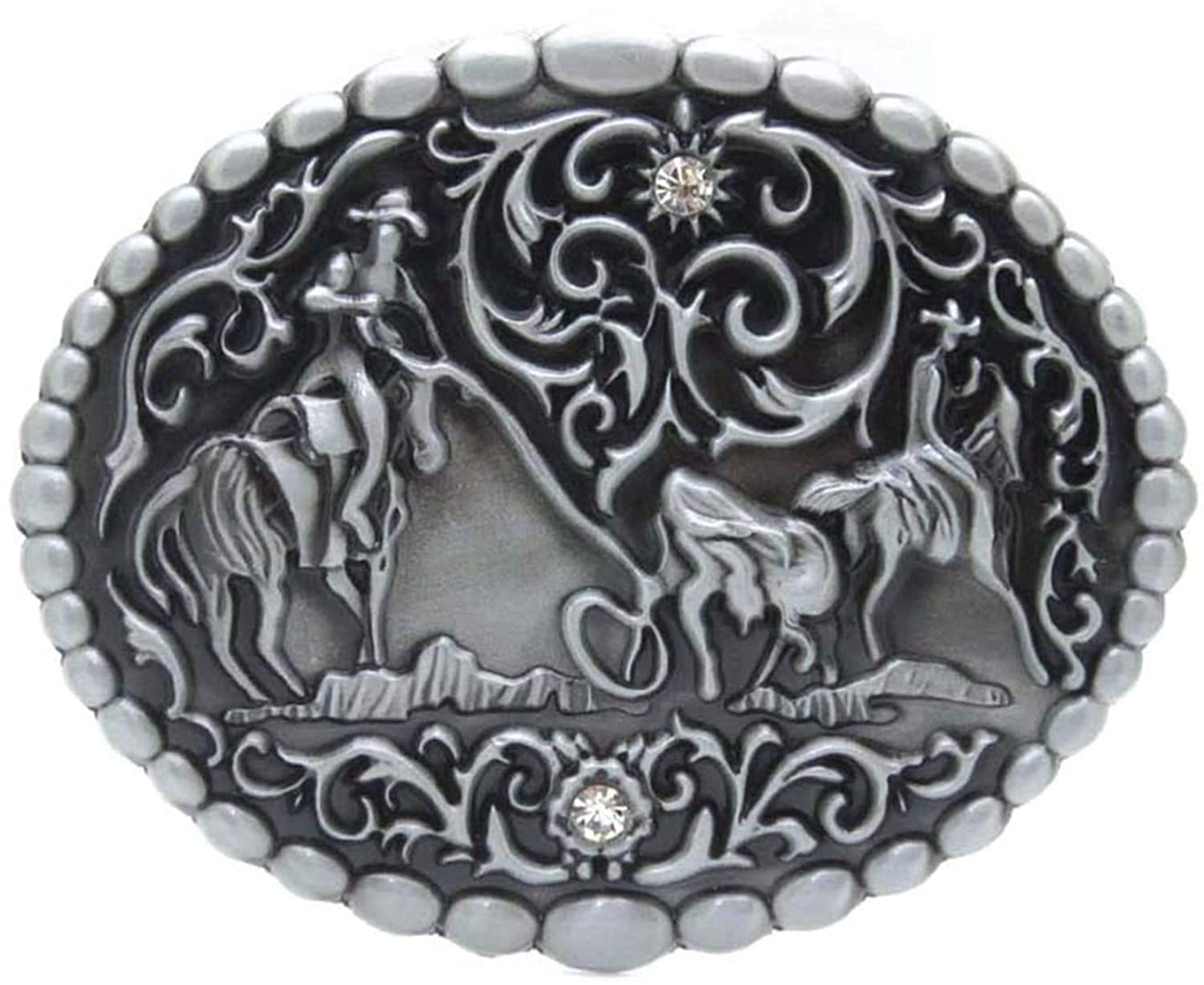 Herdsman Rodeo Cowboy Cowgirl Western Belt Buckle Silver With Gold Suitable 4Cm Width Belt