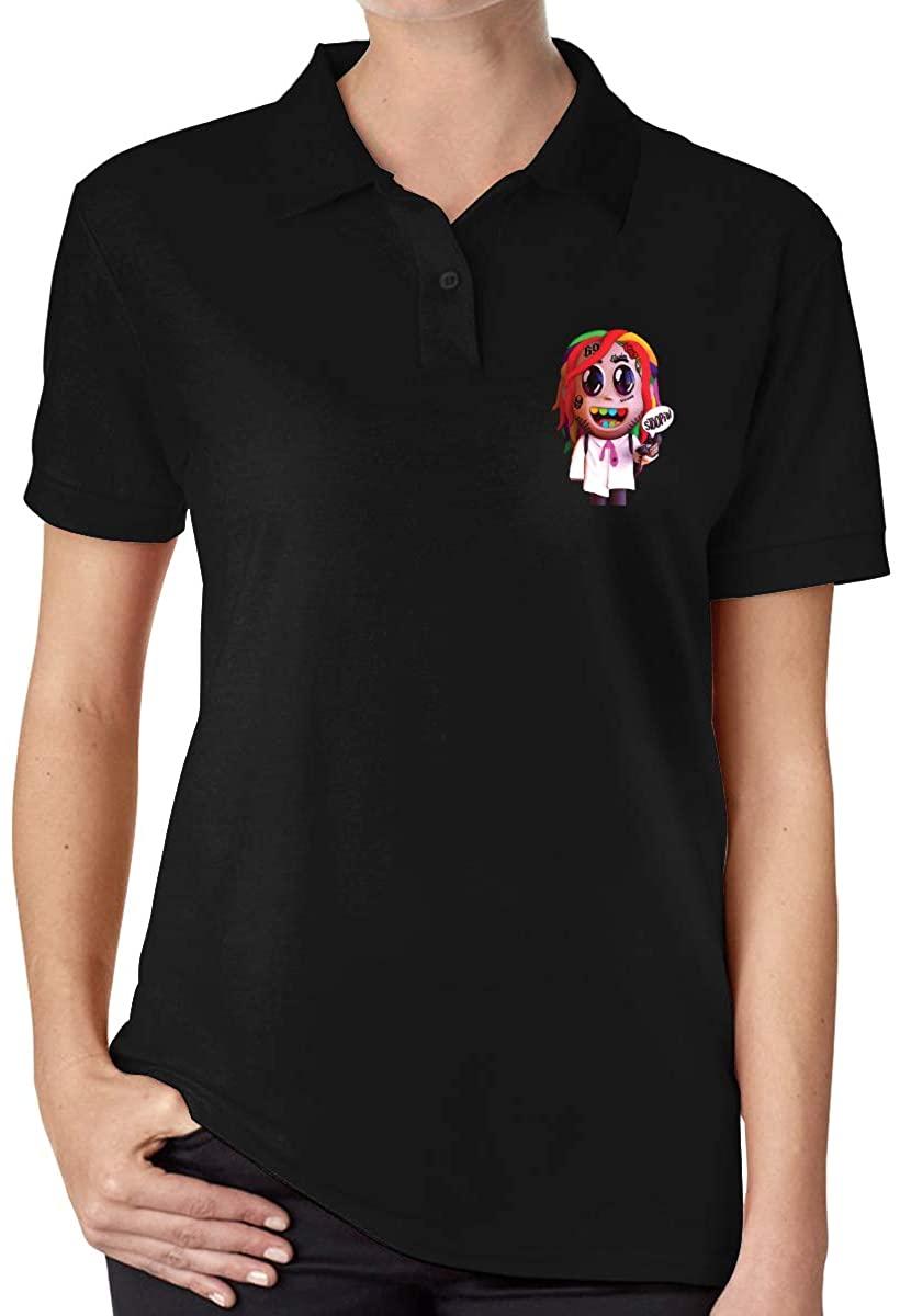 Ourjsncvns 6ix9ine Women's Regular-Fit Cotton Polo Shirt