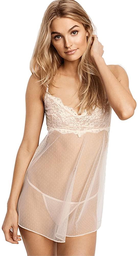 Funme Women Lace Patchwork Spaghetti Strap Backless Mesh Sleep Babydoll Chemise Mini Dress