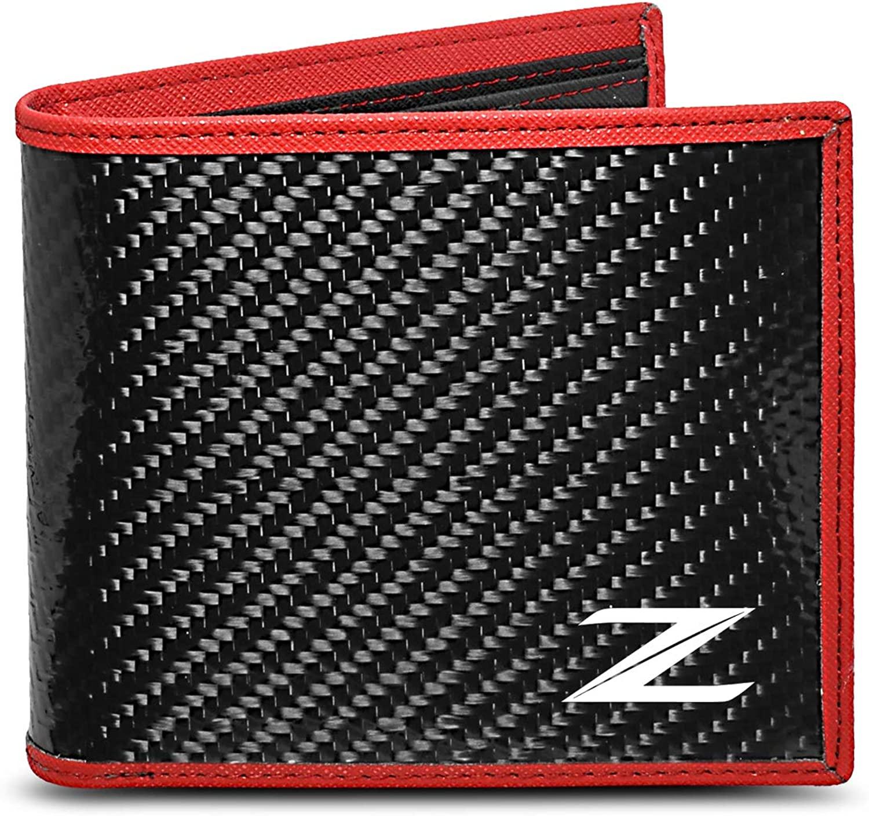 Nissan 370Z Logo Real Premium Black Carbon Fiber Wallet with Red Stitched Edge Full-size Bi-fold Wallet for Men