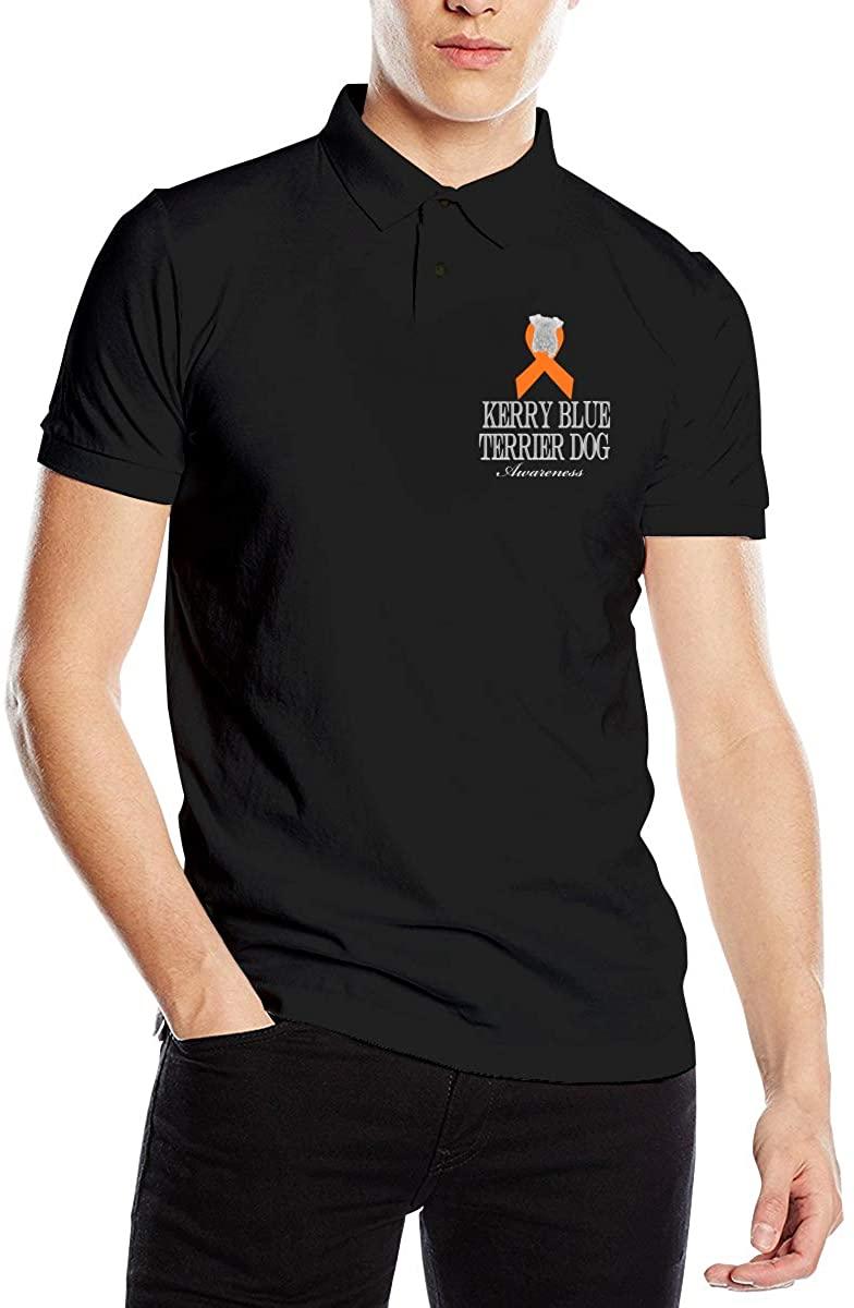 Kerry Blue Terrier Dog Awareness Ribbon Classic Cotton Shirt Men's Polo Shirt Golf Polo Shirt