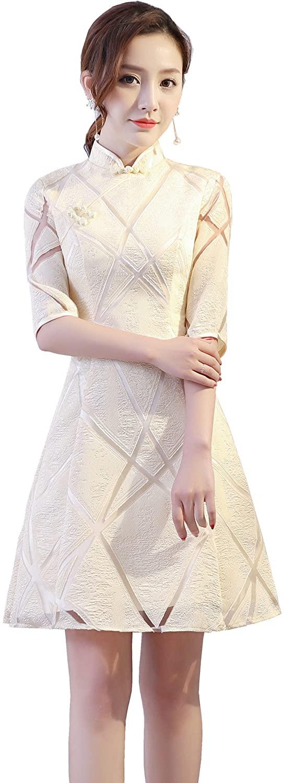 Shanghai Story Knee Length Qipao Dress Lace Chinese Cheongsam Dress for Women