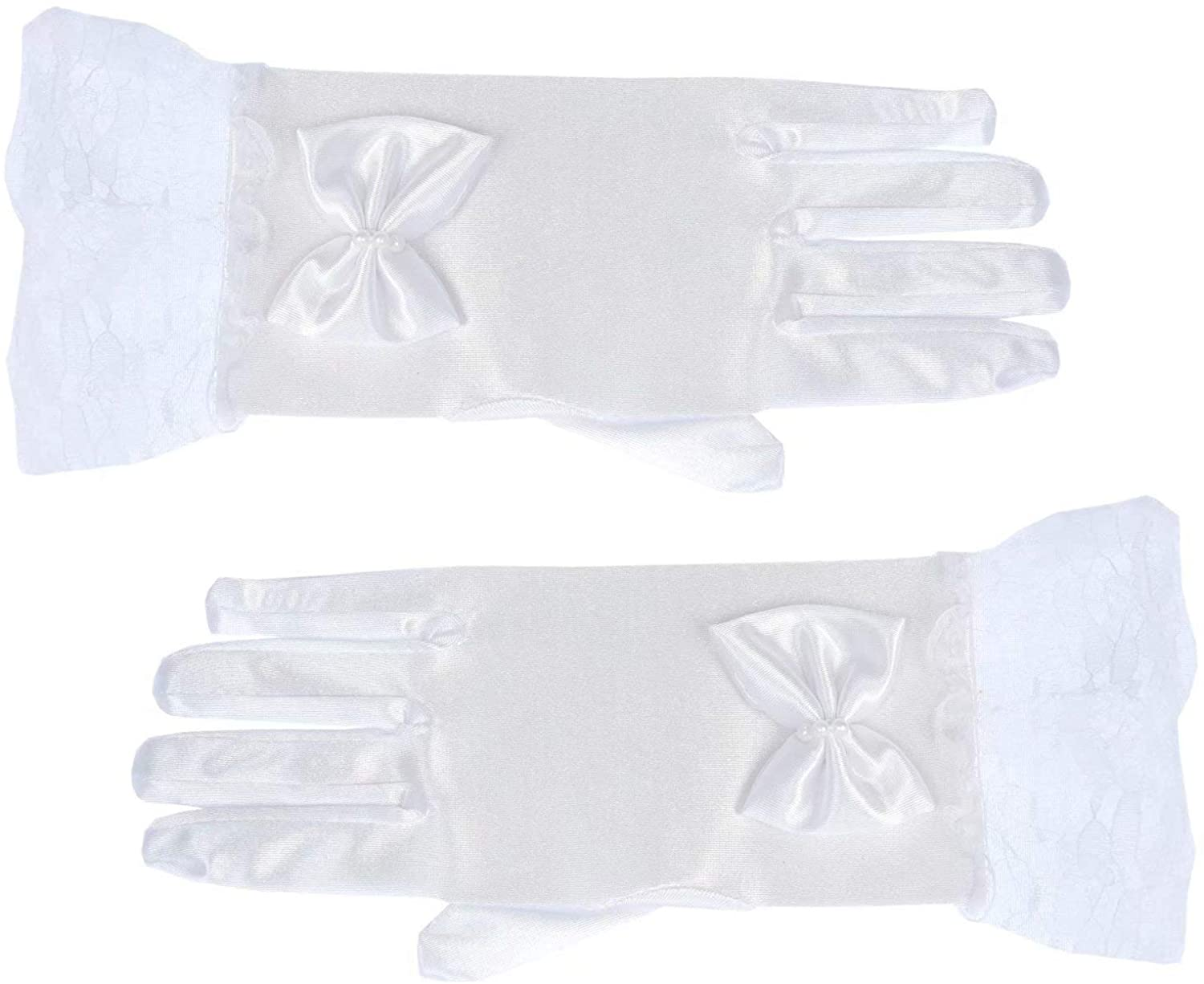 CC Jocelyn White First Holy Communion Gloves Flower Girls Fancy Stretch Silky Satin Formal Lace Gloves with Pearl Bowknot for Special Occasion Short Princess Accessories Gloves for Wedding Party