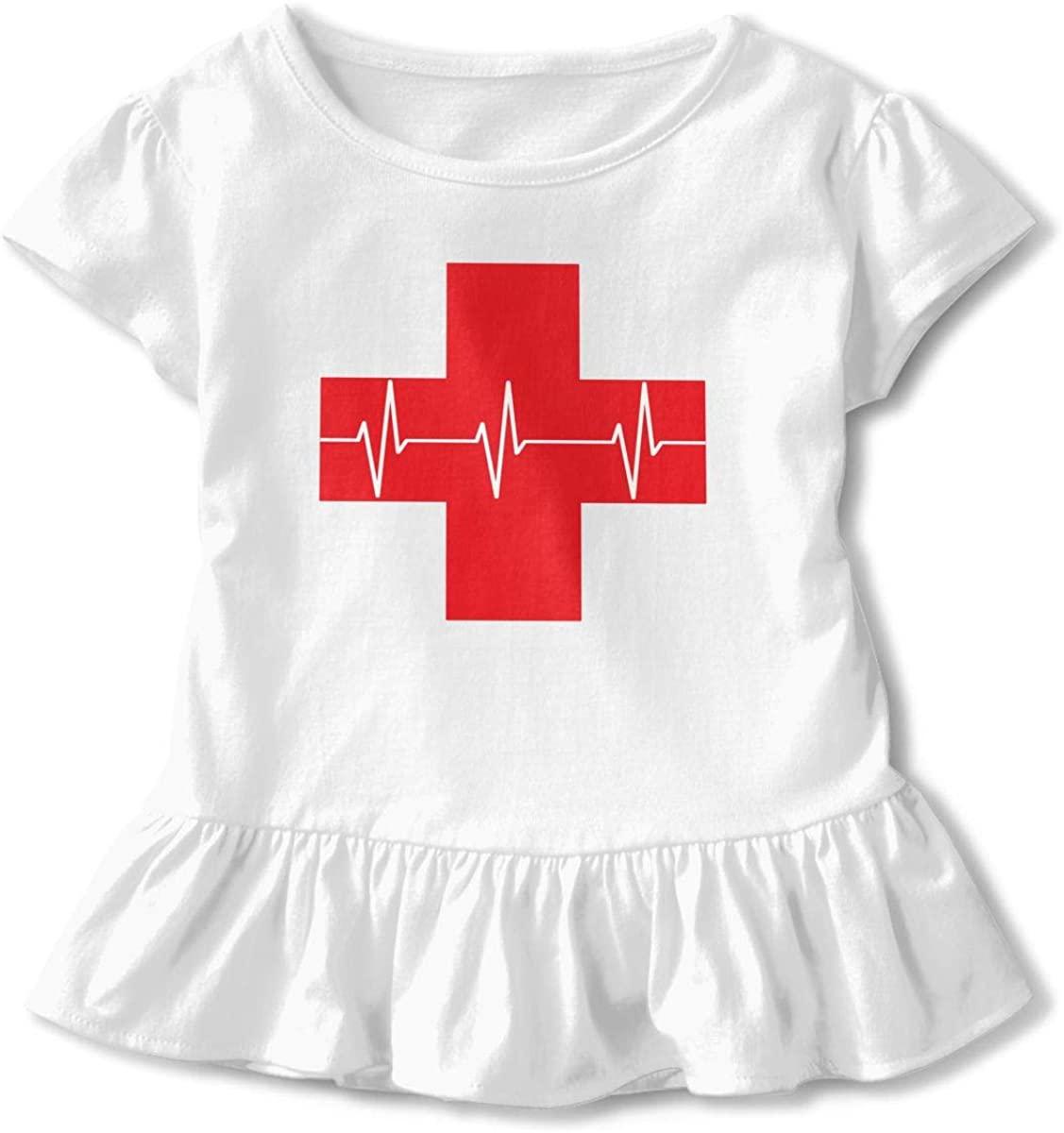 EASON-G Toddler Girl's Ruffle T-Shirt First Aid Cardiopulmonary Doctor Short Sleeve 2-6T
