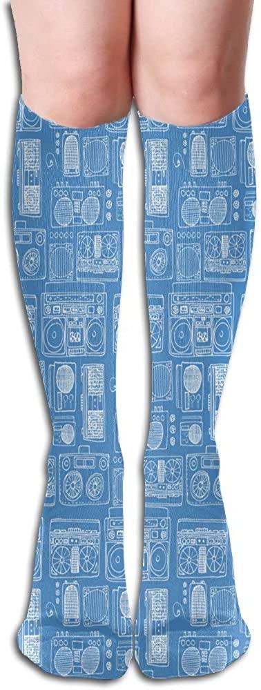 LzVong Radio Pattern Women's Long Knee High Socks Dresses Casual Stockings