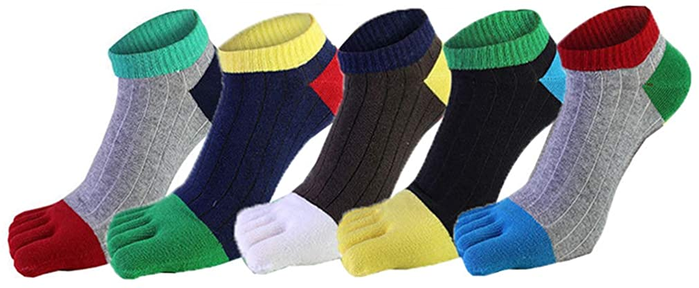 MOHSLEE Men's 5 Pack Five Finger Toe Sock Cotton Elastic Mixed-Colors Toes Socks