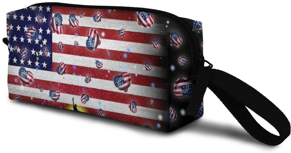T-JH 13united States American Flag Mini Makeup Bag,Portable Cosmetic Bag,Organizer,Toiletry Handbag,Sewing Kit,Storage Pouch for Women Purse