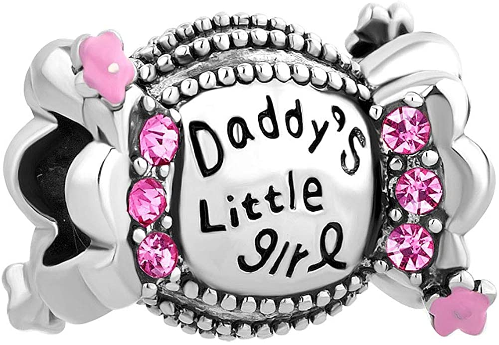 QueenCharms Daddys Little Girl Charm Beads Fit European Charm Bracelets